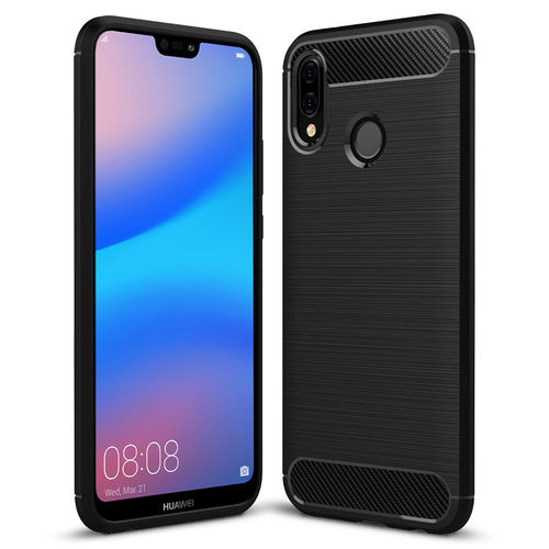 Flexi Slim Carbon Fibre Case for Huawei Nova 3e - Brushed Black