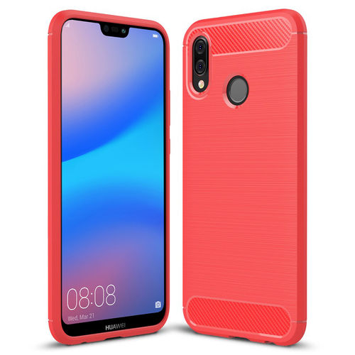 Flexi Slim Carbon Fibre Case for Huawei Nova 3e - Brushed Red