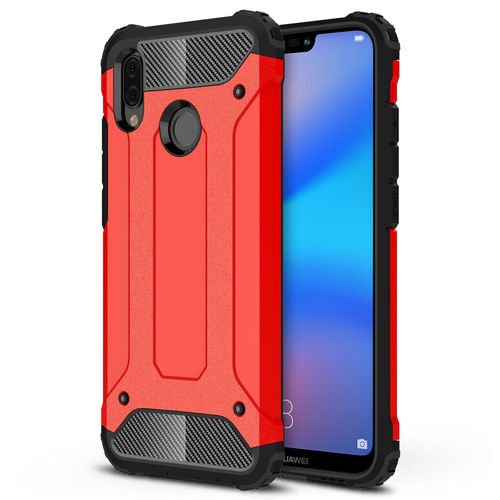 Military Defender Shockproof Case for Huawei Nova 3e - Red