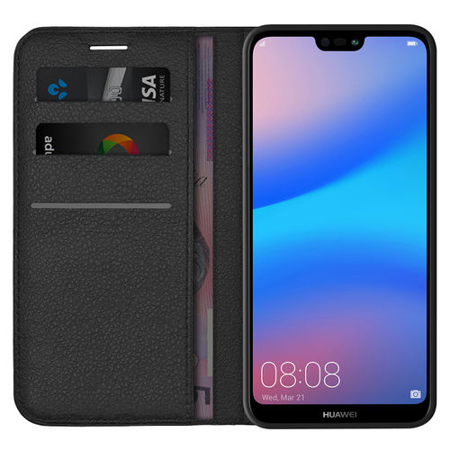 Leather Wallet Case & Card Holder Pouch for Huawei Nova 3e - Black