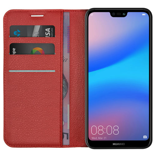 Leather Wallet Case & Card Holder Pouch for Huawei Nova 3e - Red