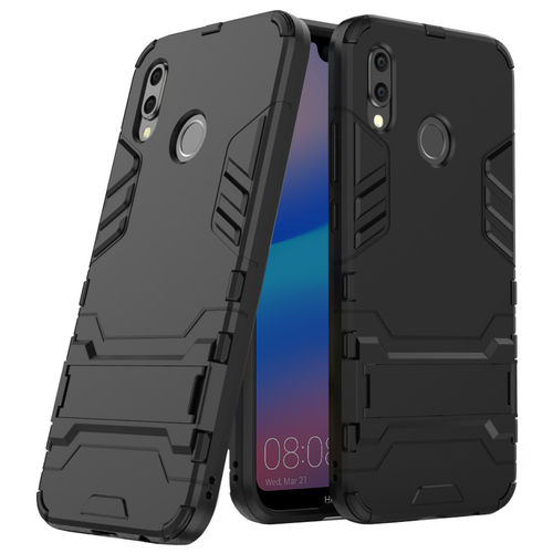 Slim Armour Tough Shockproof Case & Stand for Huawei Nova 3e - Black