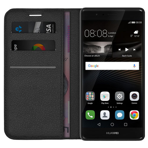 Leather Wallet Case & Card Holder Pouch for Huawei P9 - Black