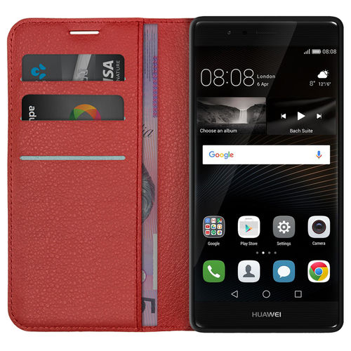 Leather Wallet Case & Card Holder Pouch for Huawei P9 - Red