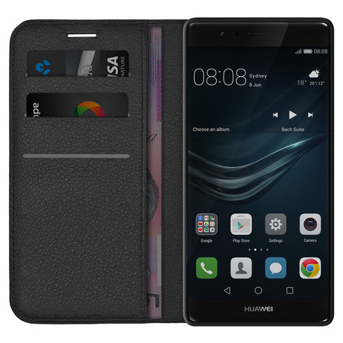 Leather Wallet Case & Card Holder Pouch for Huawei P9 Plus - Black