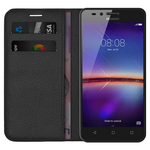 Leather Wallet Case & Card Holder Pouch for Huawei Y3II - Black