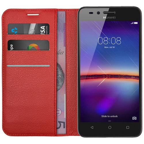 Leather Wallet Case & Card Holder Pouch for Huawei Y3II - Red