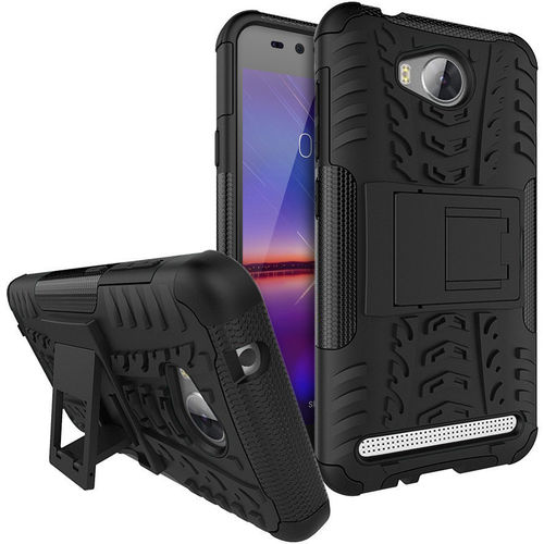 Dual Layer Rugged Tough Shockproof Case for Huawei Y3II - Black