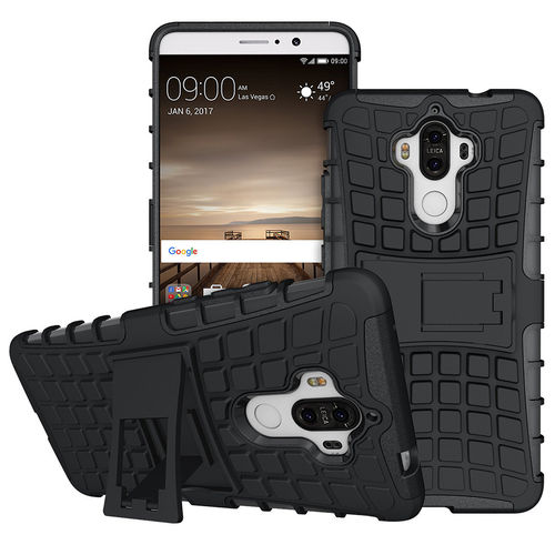Dual Layer Rugged Tough Shockproof Case for Huawei Mate 9 - Black