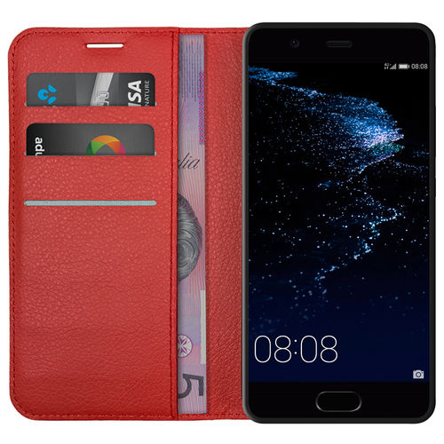 Leather Wallet Case & Card Holder Pouch for Huawei P10 - Red
