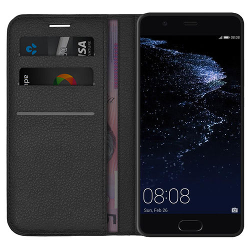 Leather Wallet Case & Card Holder Pouch for Huawei P10 Plus - Black