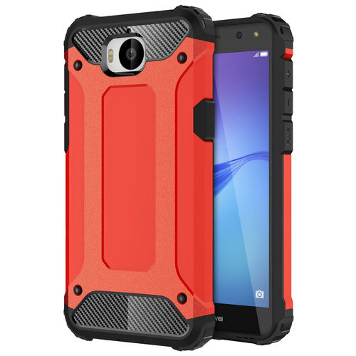 Military Defender Tough Shockproof Case for Huawei Y5 (2017) - Red