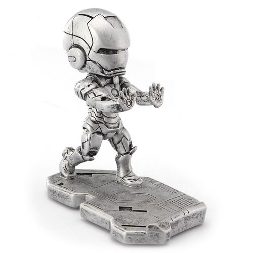 Iron Man Statue Metal Desktop Stand Holder for Mobile Phones - Silver