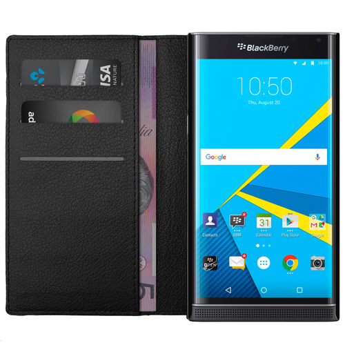 Leather Wallet Case & Card Holder Pouch for BlackBerry Priv - Black