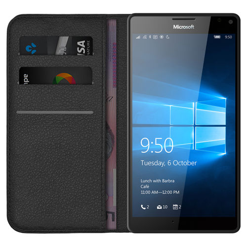 Leather Wallet Case & Card Holder Pouch for Microsoft Lumia 950 XL - Black