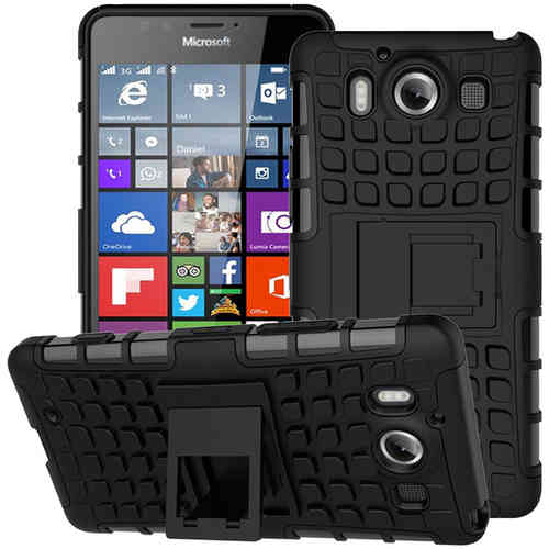 Dual Layer Rugged Tough Shock Case for Microsoft Lumia 950 - Black