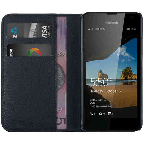 Leather Wallet Case & Card Holder Pouch for Microsoft Lumia 550 - Black