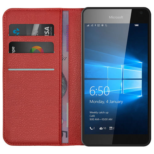 Leather Wallet Case & Card Holder Pouch for Microsoft Lumia 650 - Red