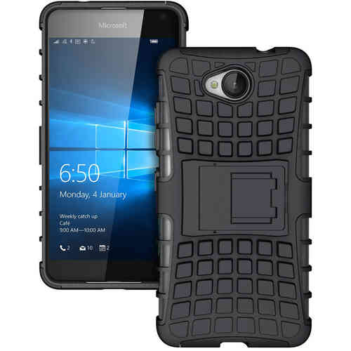 Dual Layer Rugged Tough Shockproof Case - Microsoft Lumia 650 - Black