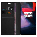 Leather Wallet Case & Card Holder Pouch for OnePlus 6 - Black