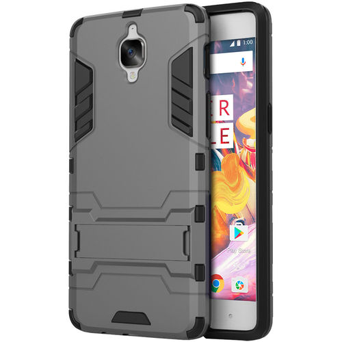 Slim Armour Tough Shockproof Case & Stand for One Plus 3 / 3T - Grey