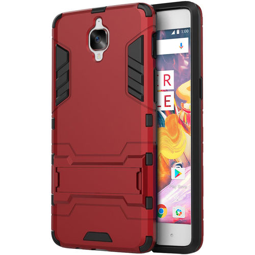 Slim Armour Tough Shockproof Case & Stand for One Plus 3 / 3T - Red