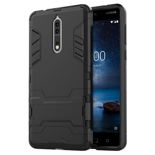 Slim Armour Tough Shockproof Case & Stand for Nokia 8 - Black