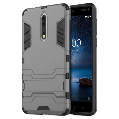 Slim Armour Tough Shockproof Case & Stand for Nokia 8 - Grey