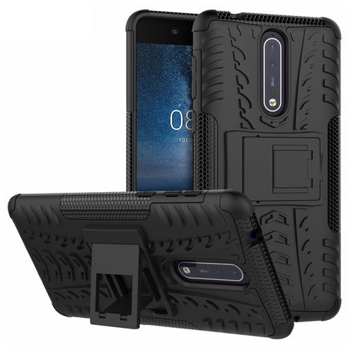 Dual Layer Rugged Tough Shockproof Case & Stand for Nokia 8 - Black