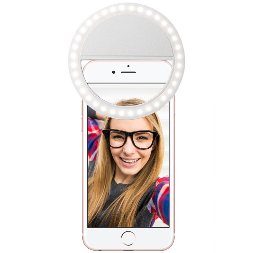 Rechargeable Bright LED Ring Selfie Light for Mobile Phone