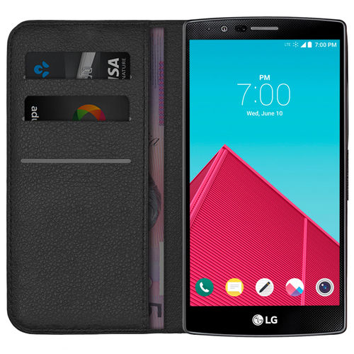 Leather Wallet Case & Card Holder Pouch for LG G4 - Black