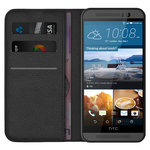Leather Wallet Case & Card Holder Pouch for HTC One M9 - Black