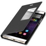 Window View Smart Leather Flip Case for Huawei P8 - Black