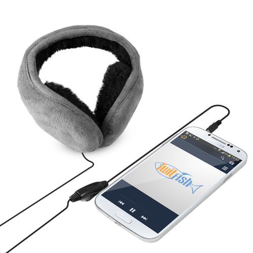 TwitFish Warm Winter Earmuffs & Over-Ear Headphones  - Suede Grey