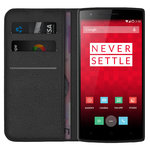 Leather Wallet Case & Card Holder Pouch for OnePlus One - Black