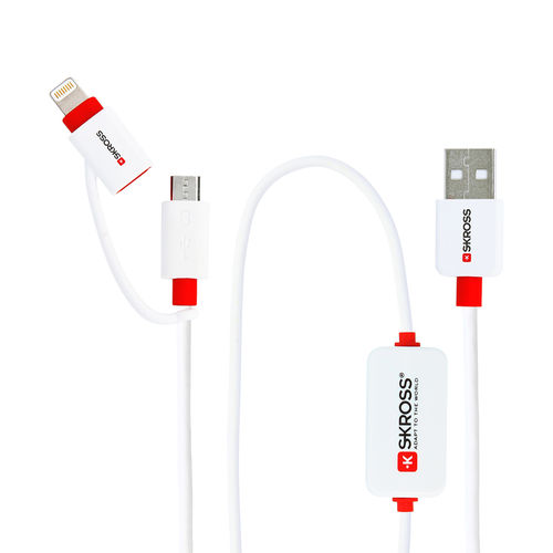 Skross Buzz Alarm 2-in-1 Micro USB & Lightning Charging Cable for Phone / Tablet