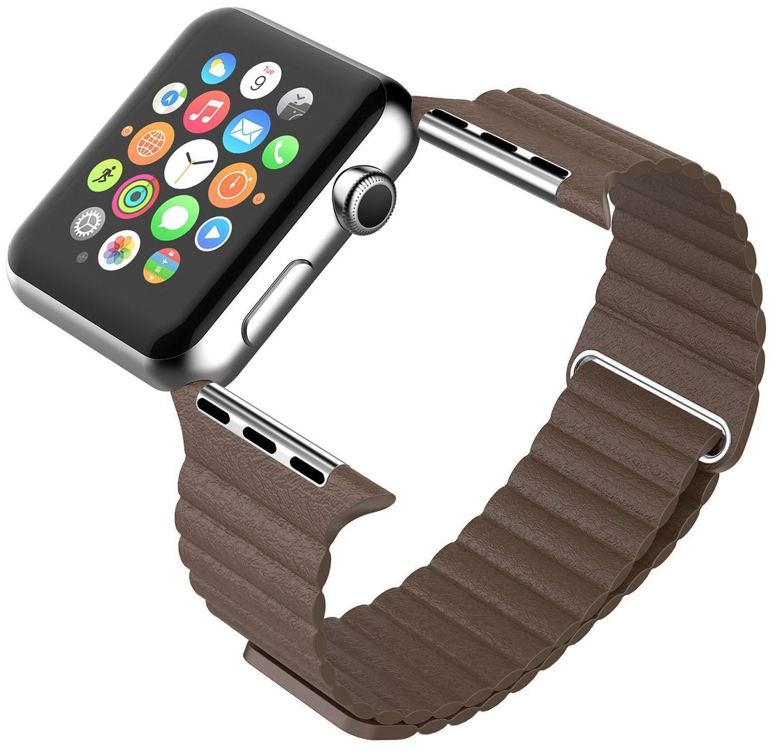 Magnetic Leather Loop Band for Apple Watch 42mm / 44mm (Brown)