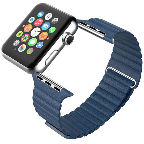 Leather Loop Band Magnetic Clasp Strap - Apple Watch 42 / 44mm - Blue