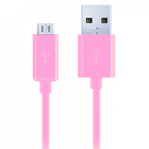 1m Micro USB to USB 2.0 Charging Cable (Charge & Sync) - Pink