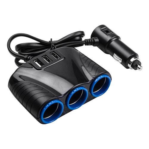 3-Socket Car Cigarette Lighter Port Splitter & Triple USB Charger