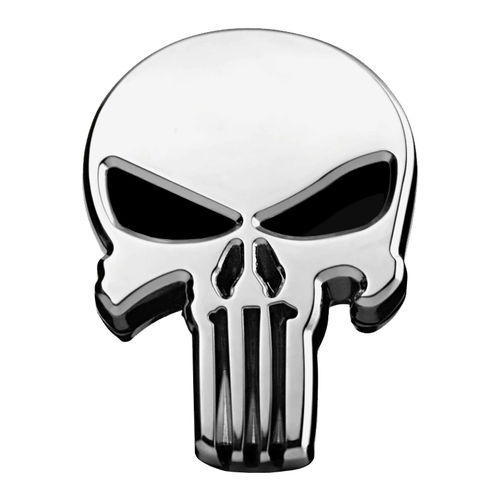 Punisher Superhero Logo Car Vehicle Chrome Badge - Silver