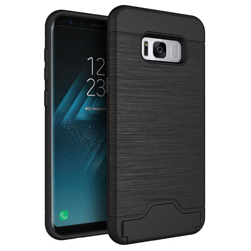 Dual Armour Tough Card Slot Holder Case for Samsung Galaxy S8 - Black