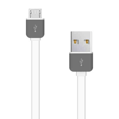 Flat TPE Anti-Tangle Micro USB Fast Charging Cable (1m) - White