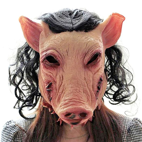 Novelty Latex Scary Pig Head Mask & Hair for Halloween Costume Party