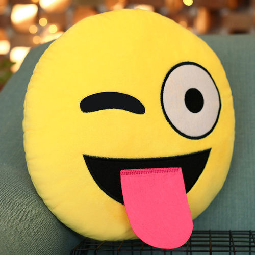Emoji Throw Pillow (Emoticon Cushion) with Sticking Tongue Out Face