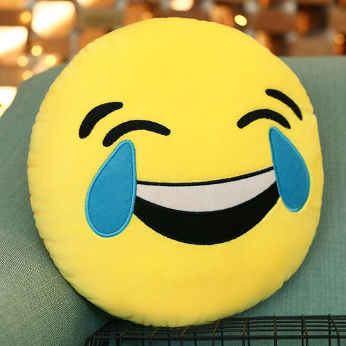 Emoji Throw Pillow (Emoticon Cushion) with Tears of Joy Face