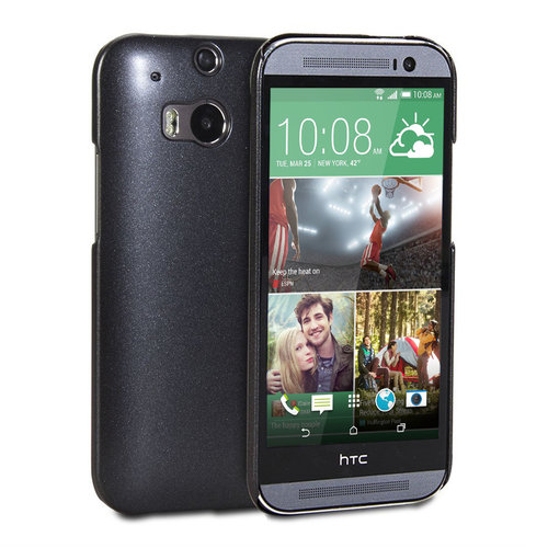 Metallic Texture Hard Case for HTC One M8 - Black (Satin)