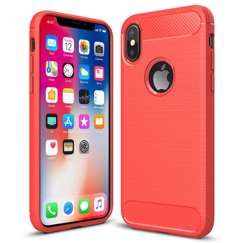 Flexi Carbon Fibre Tough Case for Apple iPhone X / Xs - Brushed Red
