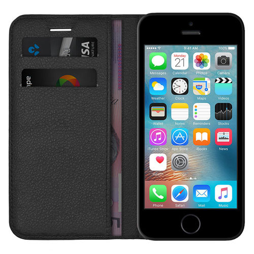 Leather Wallet Case & Card Pouch for Apple iPhone 5 / 5s / SE (1st Gen) - Black