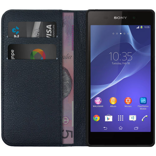 Leather Wallet Case & Card Holder Pouch for Sony Xperia Z2A - Black
